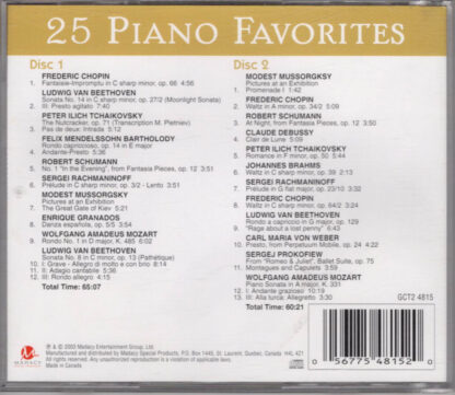 25 Piano Favorites (back)