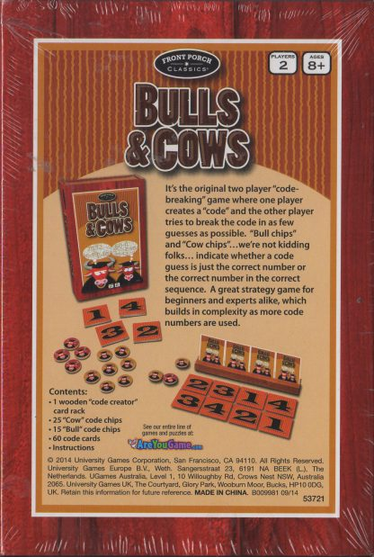 Bulls & Cows (box back)