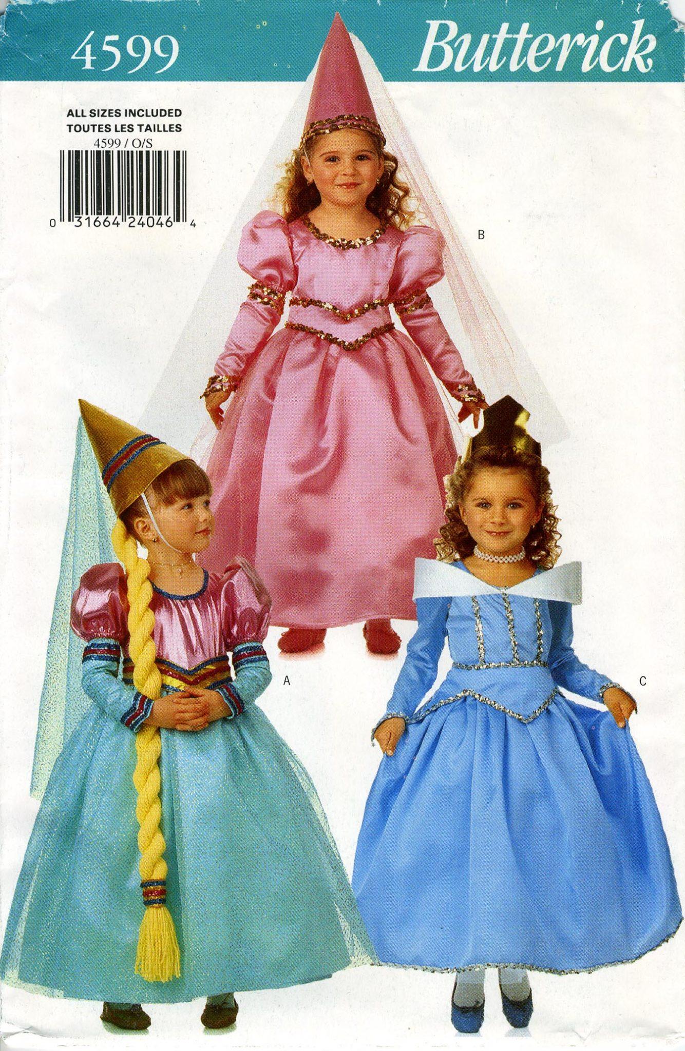 PRINCESS \ RAPUNZEL COSTUMES - Butterick 4599, Girls 2-6X