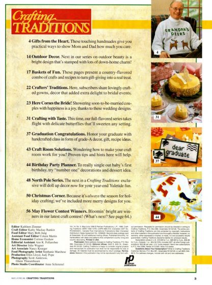 Crafting Traditions, May/June 1996 (contents)
