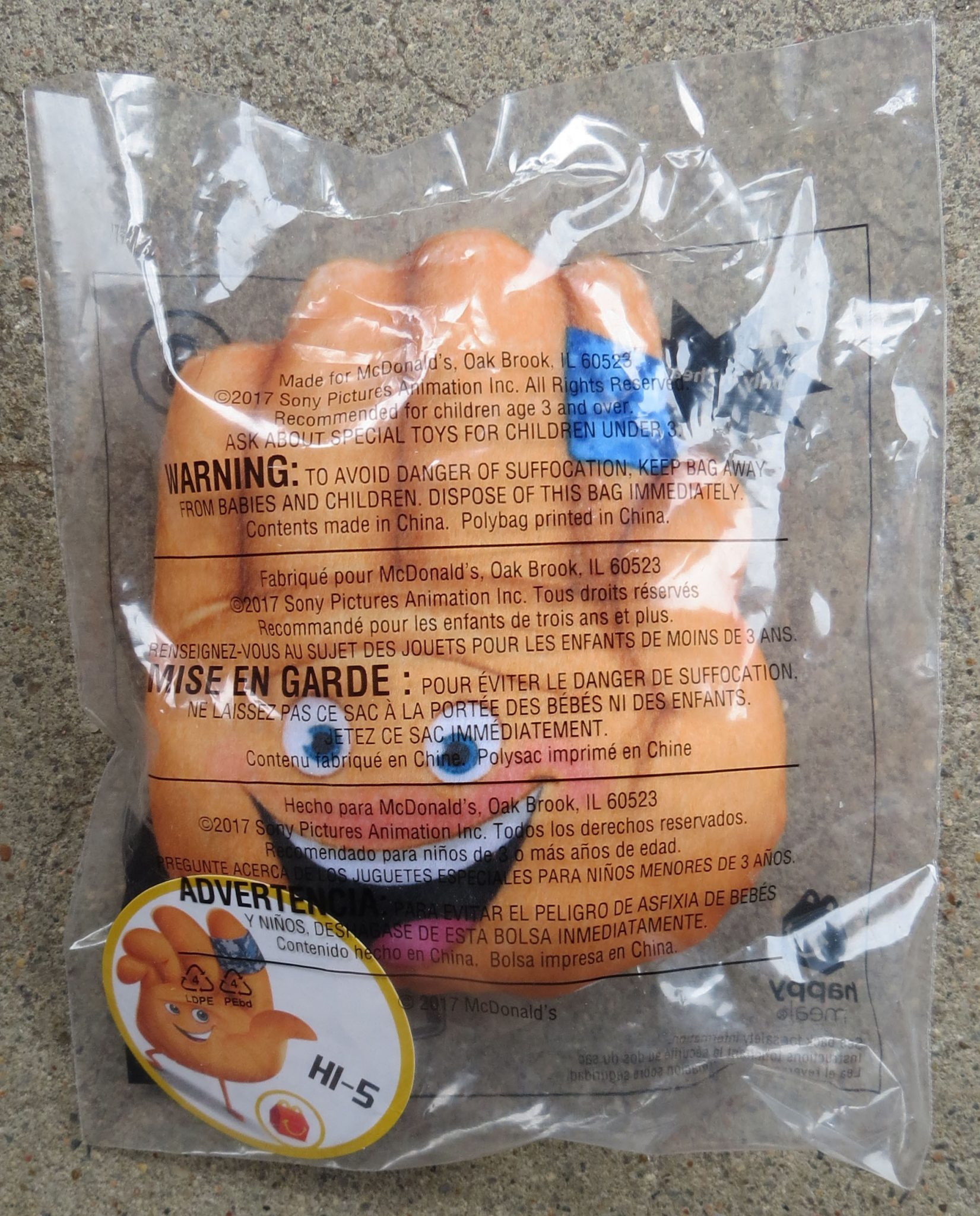 Hi 5 From Emoji Movie 3 Mcdonald S Happy Meal Toy