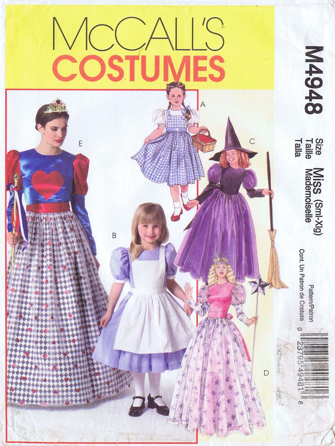 Sewing Pattern McCall/'s 2859 Misses/' and Girls/' Costumes