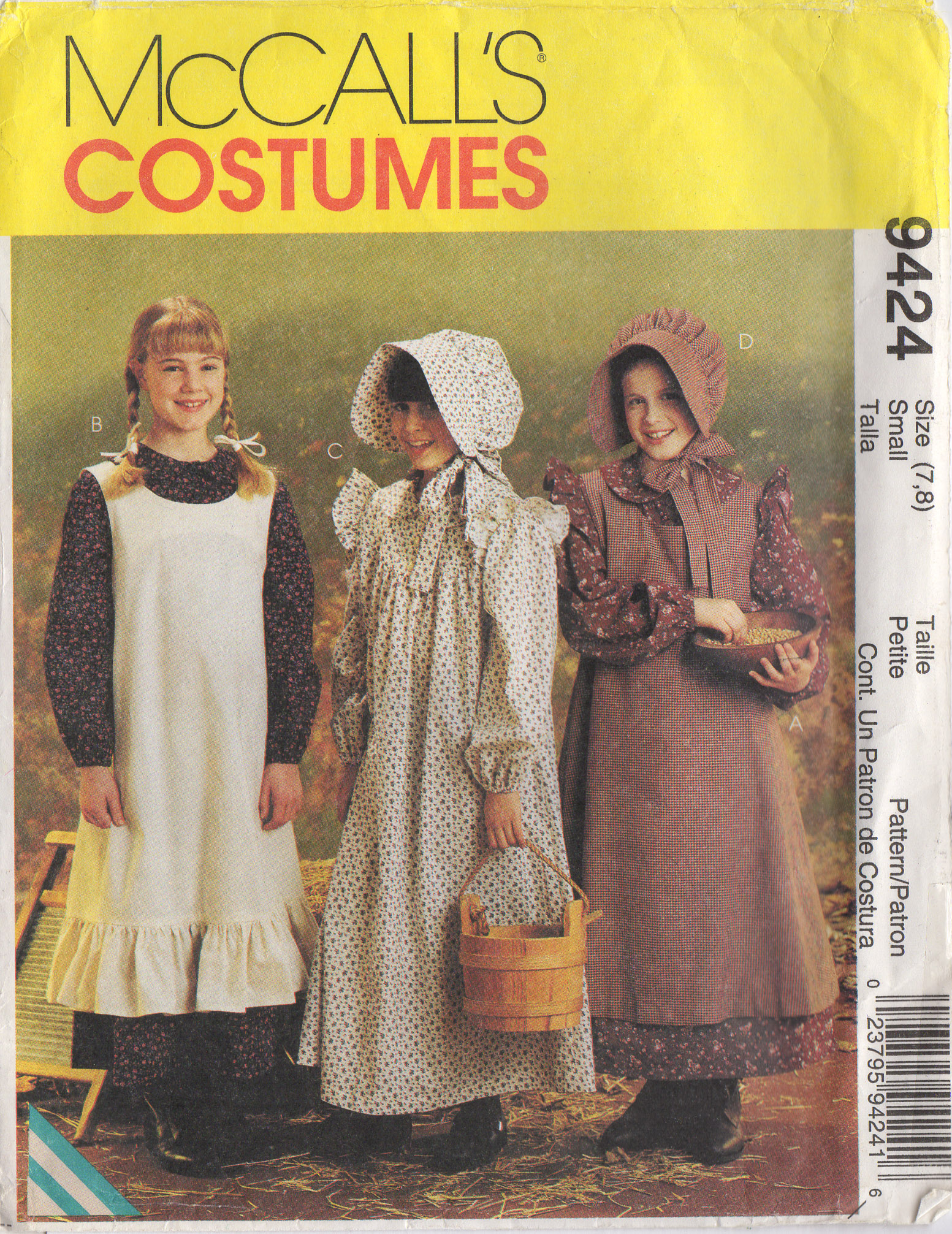 Little House On The Prairie Dress Pinafore Bonnet Mccall S 9424 7 8