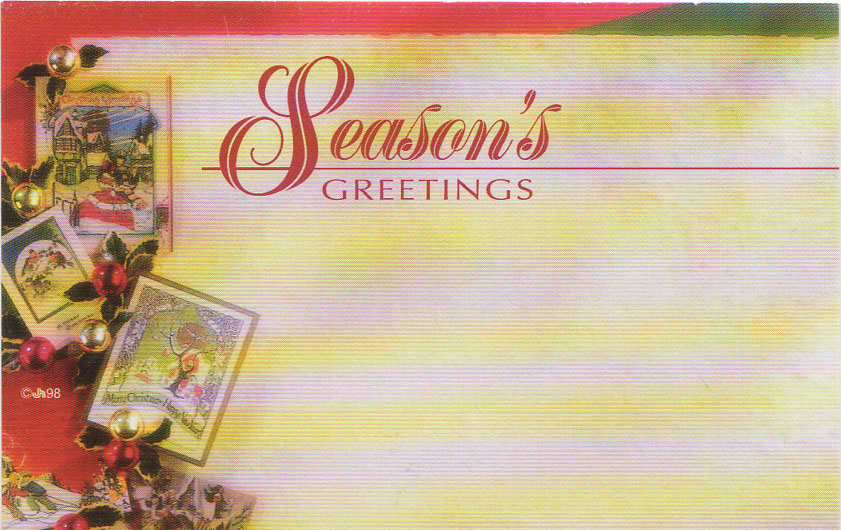season's greetings  floral enclosure card w christmas cards