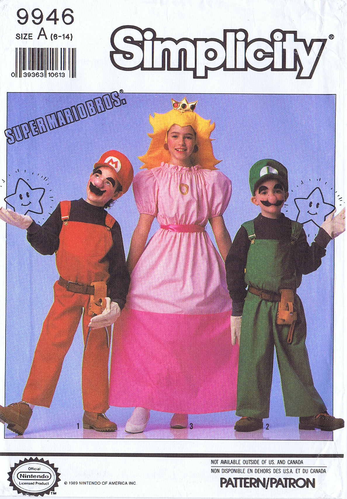 Mario Luigi Princess Peach Costume Simplicity 9946 Kids 6 14