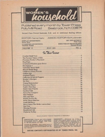 Woman's Household - July 1972 (contents)